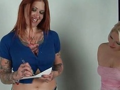 Redhead hoe licks and sucks a  blonde s tits