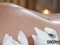 Busty brunette screws after massage
