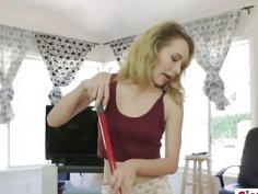 Step sis Angel cleaning and pounding step bro
