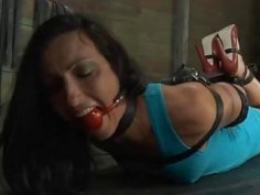 Gagged hottie acquires lusty torturing