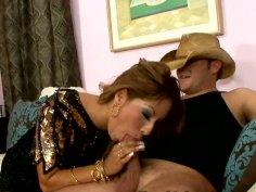 Dirty Latino whore gives blowjob to a cool cowboy