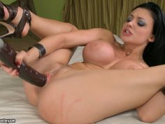 Aletta Ocean fingers herself and bangs her pussy with big dildo