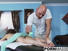 Eve gets fucked after hot boob rub and pussy massage