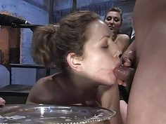 Group tormenting for a breasty lovely villein