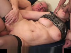 60 years old woman getting double banged