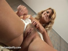 Hot and sexy blonde Bianka plays with her slutty pussy