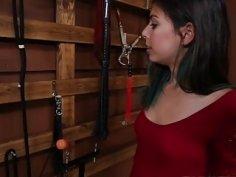 Curious teen Gina Valentina walks into a sex dungeon