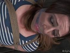 Bondage brunette slave girl and her mistress