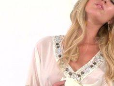 Mesmerizing blonde babe Victoria White pokes her tight twat with dildo