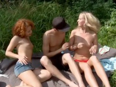 Cute Sunny(Caprice) plays with her girlfriend and a guy