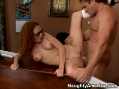 Red head fire babe Audrey Hollander gets her pussy fingered and fucked