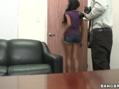 Submissive slut Gigi strips and gives a head on a casting