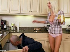 Tanned housewife Puma Swede gives a deepthroat to her neighbor