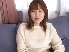 Cute Yumi plays with huge toys on her hairy pussy