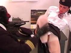 Horny pilot and sexy stewardess prefers Bizarre