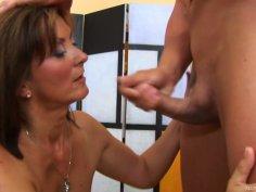MILF brunette slut Dorothy gets rammed hard doggy style by John S