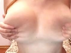 Big natural tits on a horny slut